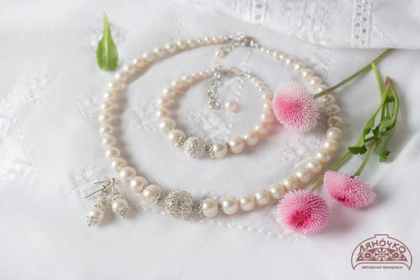 купити намисто з перлин з сріблом фото