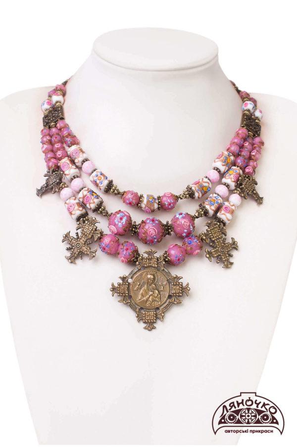 Намисто з венеційського скла рожеве біле згарди, львів київ, фото купити