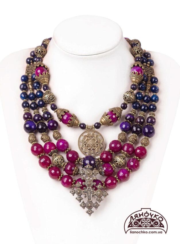 купити намисто з агату синього кольору і фіолетового фото
