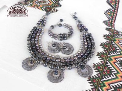 купити намисто з чорних і сірих перлин фото