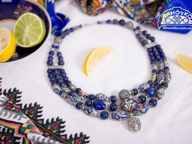 купити намисто з лазуриту і венеційського скла фото