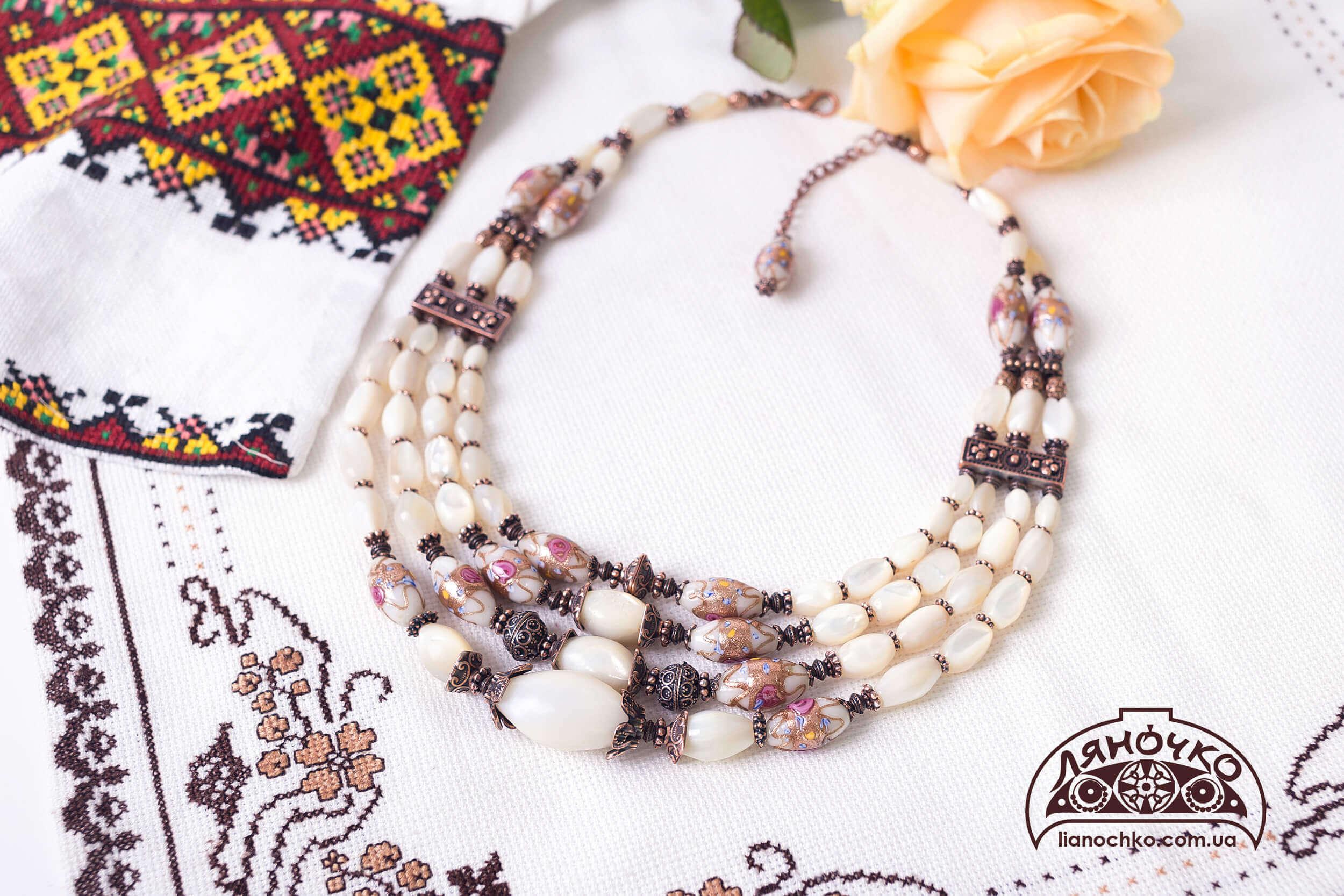 купити намисто з муранського скла і баламутів фото