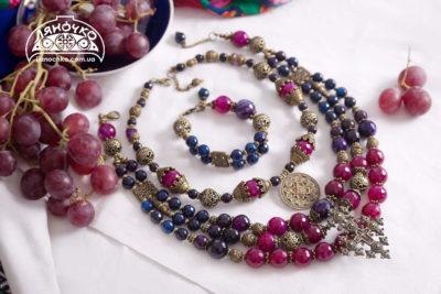 намисто синє рожеве та фіолетове з агату фото
