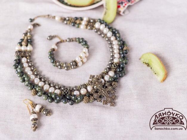 намисто і сережки з перлин три дари фото