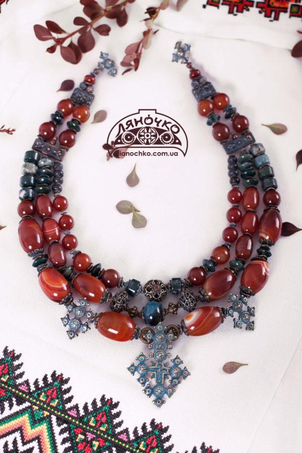 ожерелье с натурального камня фото