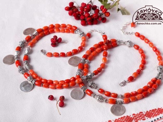 прикраси коралові з монетками сестрички ів франківськ