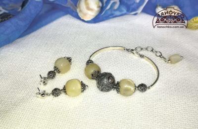 Браслет з баламутів та сережки, зі сріблом, фото