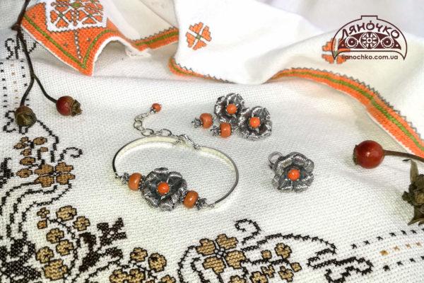 Купити браслет, сережки з коралом Київ, Львів, фото