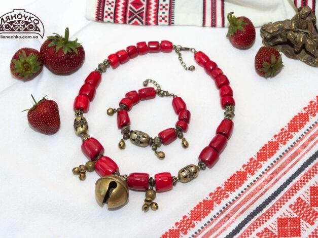 купити коралове намисто дзвінке червоне в києві львові україні