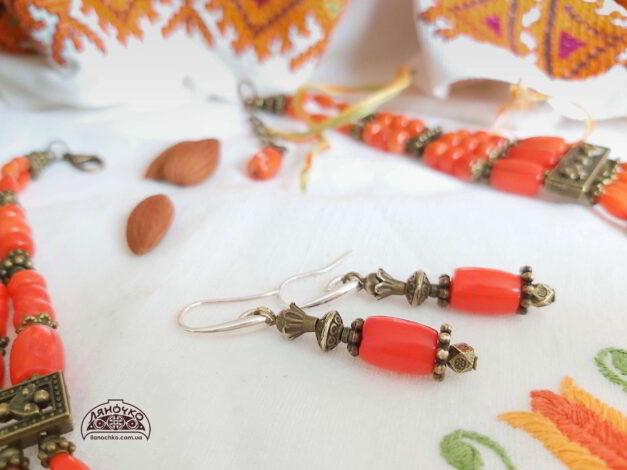 сережки з коралів ватра