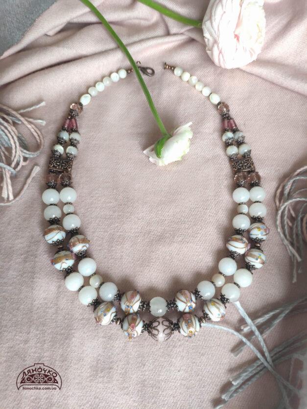 Намисто з венеційського скла квітнева заметіль фото