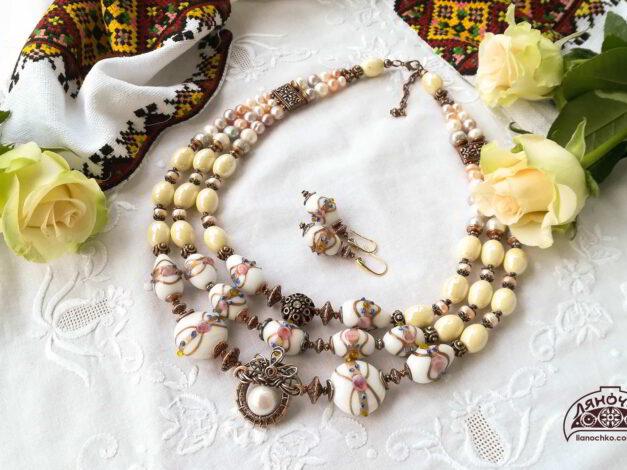 Намисто з венеційського скла кераміки перлин на виданні