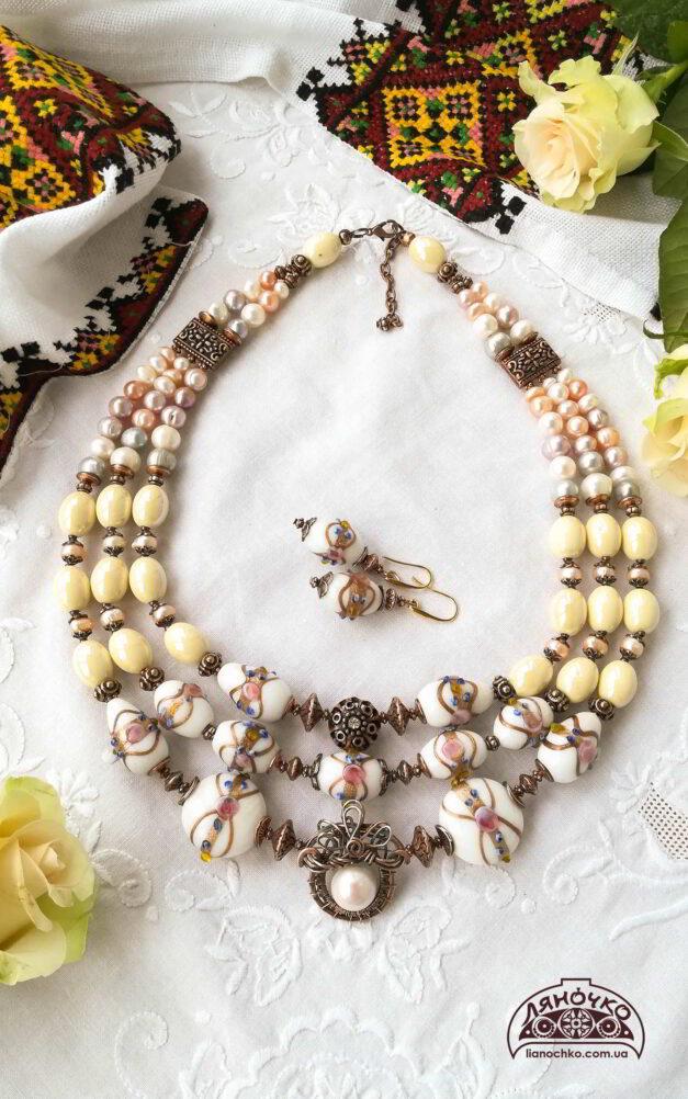 Намисто з венеційського скла кераміки перлин на виданні згори