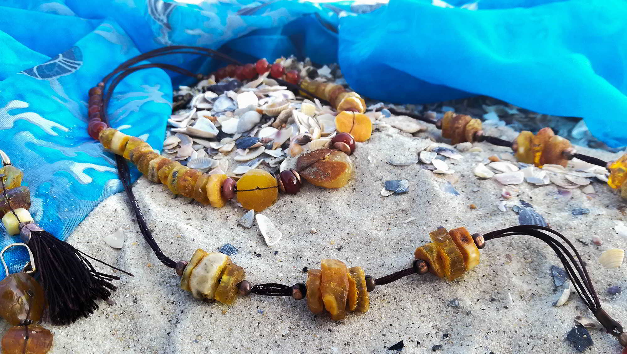набір прикрас бурштин сердолік китиці на хвилі збоку