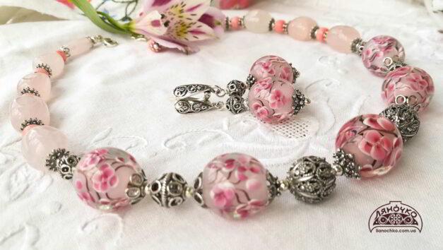 намисто венеційське скло рожевий кварц корал срібло сакура сережки