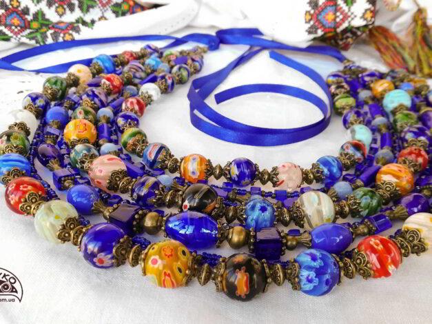 намисто з венеційського скла різноколірне барвінкове кружало