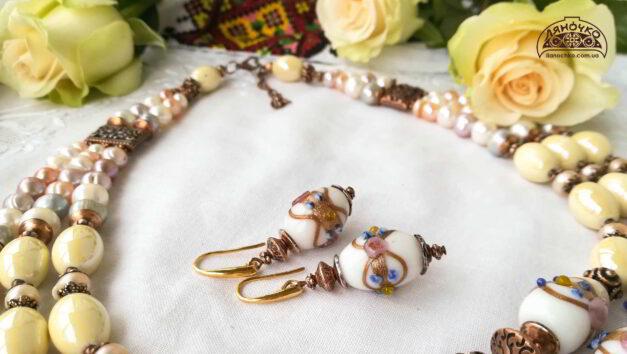 сережки з венеційського скла кераміки перлин на виданні